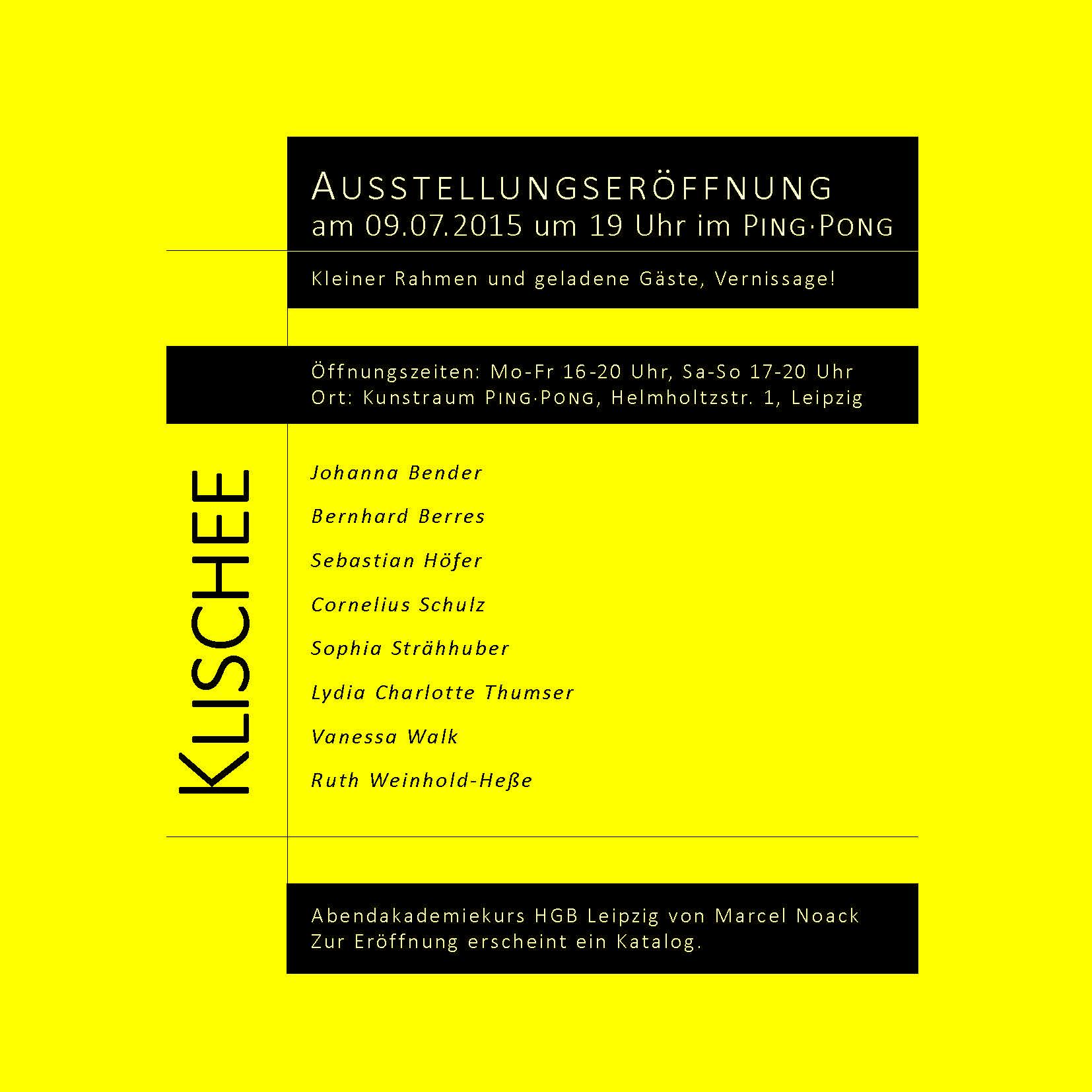Einladung zur Ausstellung KLISCHEE im Kunstraum PING•PONG